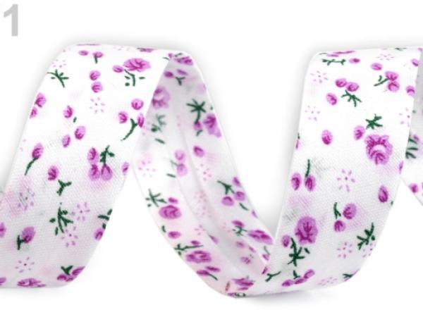 Schr/ägband Polyester Breite 20 mm gefalzt Rosa Bl/üten
